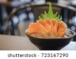 salmon sashimi raw fish... | Shutterstock . vector #723167290