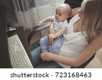 mom with the kid on hands works ... | Shutterstock . vector #723168463
