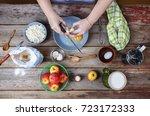 cooking food. woman cook breaks ...   Shutterstock . vector #723172333