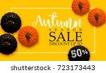 design banner autumn sale. fall ... | Shutterstock .eps vector #723173443