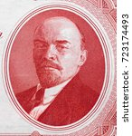 vladimir lenin portrait on... | Shutterstock . vector #723174493