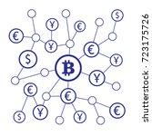 bitcoin crypto currency. crypto ... | Shutterstock .eps vector #723175726