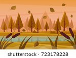 river in the forest. vector... | Shutterstock .eps vector #723178228