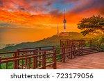 sunset at namsan public park in ...   Shutterstock . vector #723179056