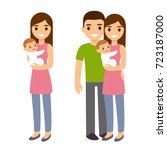 mother and father with cute... | Shutterstock .eps vector #723187000