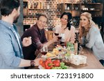 cheerful middle aged friends... | Shutterstock . vector #723191800