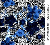 boho pattern. watercolor... | Shutterstock . vector #723193510