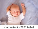 cute baby boy 1 2 months old... | Shutterstock . vector #723194164
