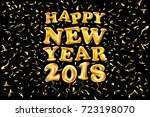 2018 happy new year gold ballon.... | Shutterstock .eps vector #723198070