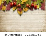 autumnal vintage background... | Shutterstock . vector #723201763