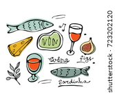 hand drawn food set | Shutterstock .eps vector #723202120