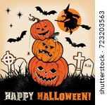 halloween pumpkin trio and... | Shutterstock .eps vector #723203563