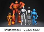 group of robots. 3d illustration | Shutterstock . vector #723215830
