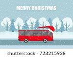 vector christmas bus on the... | Shutterstock .eps vector #723215938