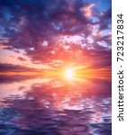 a delightful dawn among a large ...   Shutterstock . vector #723217834