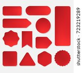 set of red paper stickers in... | Shutterstock .eps vector #723219289