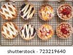 pie. various flavors of pie on... | Shutterstock . vector #723219640