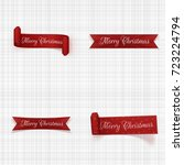 christmas greeting red ribbons... | Shutterstock .eps vector #723224794
