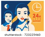 call center operator with... | Shutterstock .eps vector #723225460