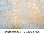 Stock photo white and golden messy wall stucco texture background decorative wall paint 723225766