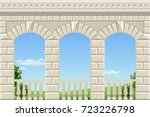 balcony of a fabulous palace in ... | Shutterstock .eps vector #723226798