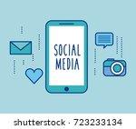 social media smartphone device... | Shutterstock .eps vector #723233134