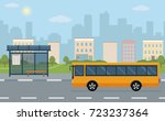 bus stop and bus on city... | Shutterstock .eps vector #723237364
