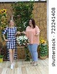 charming girls girlfriends... | Shutterstock . vector #723241408