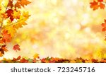 autumn background with maple... | Shutterstock . vector #723245716