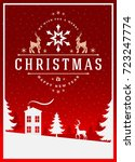 christmas greeting card or... | Shutterstock .eps vector #723247774