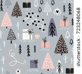 seamless winter pattern with... | Shutterstock .eps vector #723248068