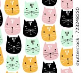 cute cats faces seamless... | Shutterstock .eps vector #723248230