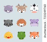 Set Of Cartoon Animals Heads ...