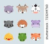 Set Of Cartoon Animals Heads ...