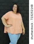 stunning fat girl with velvety... | Shutterstock . vector #723252148