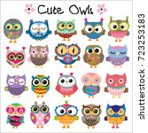 Stock vector set of cute cartoon owls on a white background 723253183