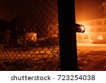 fence metal grid close up of... | Shutterstock . vector #723254038