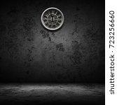 old white clock on wall in dark ... | Shutterstock . vector #723256660