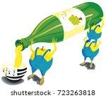 three apples take a cider bottle | Shutterstock .eps vector #723263818
