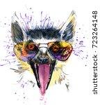 lemur watercolor illustration.... | Shutterstock . vector #723264148