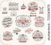 christmas set   labels  emblems ... | Shutterstock .eps vector #723265870