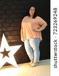 stunning fat girl with velvety... | Shutterstock . vector #723269248