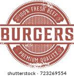 vintage fresh beef burgers... | Shutterstock .eps vector #723269554