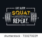 eat sleep squat repeat. gym... | Shutterstock .eps vector #723273229