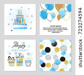 happy birthday cards set in... | Shutterstock .eps vector #723274594