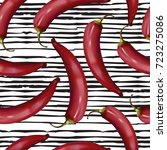 realistic red hot chili peppers ... | Shutterstock .eps vector #723275086