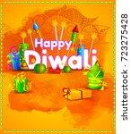 happy diwali light festival of... | Shutterstock .eps vector #723275428