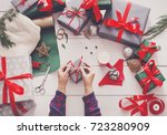 creative diy hobby. wrapping... | Shutterstock . vector #723280909