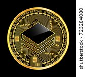 crypto currency golden coin... | Shutterstock .eps vector #723284080