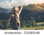 happy female tourist to travel... | Shutterstock . vector #723285148